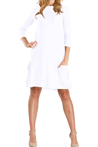 Yming Womens White Long Sleeve Swing Plain T Shirt Dress M