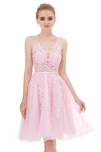 Annadress Womens Sleeveless Homecoming Dresses Short Net Bridesmaid Appliques Evening Cocktail Gowns Light Blue 4