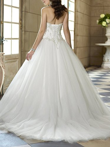 YIPEISHA Sweetheart Beaded Corset Bodice Classic Tulle Wedding Dress ...