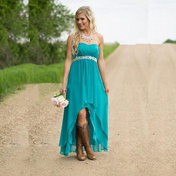 Fanciest Women\' Strapless High Low Bridesmaid Dresses Wedding ...