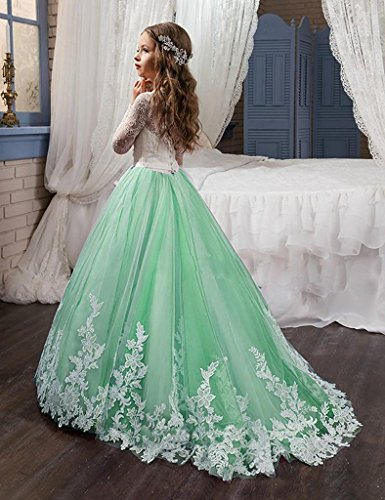 Girls Pageant Dresses Applique Ball Gown Tulle Princess Prom Party ...
