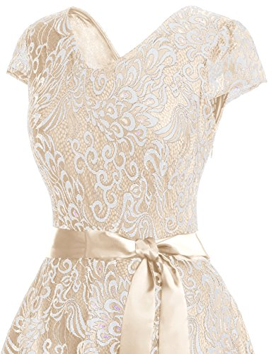 Bridesmay Women's Short Bridesmaid Dresses Embroidered Floral Lace Dress  With Cap Sleeve Champagne L | at IZIDRESS.com
