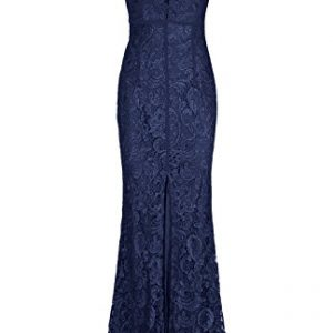 Absolute Rosy Women's Pluging Illusion Neckline Seethrough Back Lace Evening Dress with Center Front Slit Navy S
