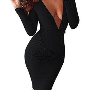 Acelyn Womens Sexy Wrap V-Neck Long Sleeve Stretch Bodycon Bandage Party Midi Dresses Medium Black