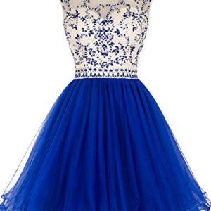 ALAGIRLS Beaded Prom Dress Short Tulle Homecoming Dress Hollow Back Royal Blue US12