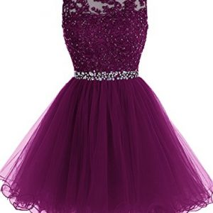 ALAGIRLS Short Beaded Prom Dress Tulle Applique Homecoming Dress Grape US2
