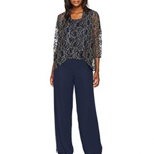 Alex Evenings Women's 3-Piece Pant Suit With Cascade Detail Jacket, Navy Gold, 12