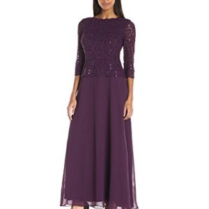 Alex Evenings Women's Long Mock Dress with Sequin Lace Bodice and Illusion 3/4 Sleeves, Deep Plum, 16