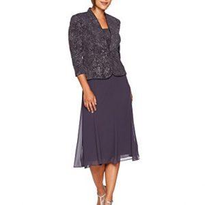 Alex Evenings Women's Petite T-Length Mock Jacket Dress with Three-Quarter Sleeve, Smoke, 12P
