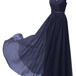 Alicepub V-Neck Chiffon Bridesmaid Dress Long Party Prom Evening Dress Sleeveless, Dark Navy, US26