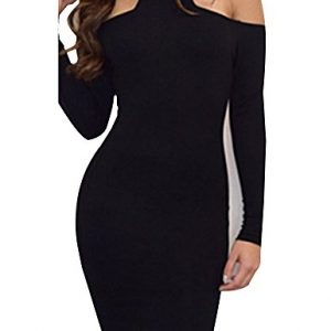 Allegrace Womens Long Sleeves Sexy Off Shoulder Bodycon Party Bandage Club Dresses Black M