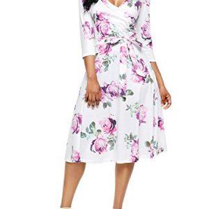 Alvaq Women Summer V Neck Floral Print Dresses Ladies Slim Fit Knee Length Swing Sun Dress Casual Plus Size Purple