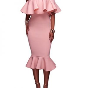 Alvaq Women's Sexy Off The Shoulder Sleeve Mermaid Bodycon Dress Plus Size Prom 2017 Dresses 2XL Pink