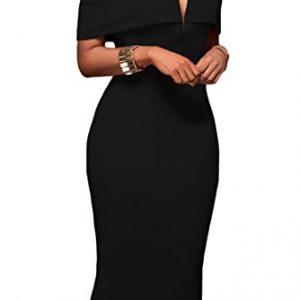 Alvaq Women's Sexy V Neck Off The Shoulder Evening Bodycon Club Midi Dress, Black, Medium
