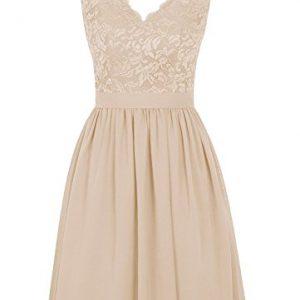 Angel Formal Dresses Women's V Neck Lace Dress Bridesmaids Dress Short Prom Dress(10,Champagne)