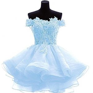 Angela Women's Off The Shoulder Organza Short Prom Homecoming Dresses Sky Blue 8
