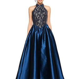 Angvns Women Halter Floral Lace Evening Ball Gown Prom Long Formal Party Dress,Blue,Medium