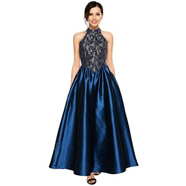 Angvns Women Halter Floral Lace Evening Ball Gown Prom Long Formal ...