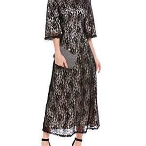 ANGVNS Women's Formal Floral Lace Scoop Neck Long Sleeve Cocktail Special Occasion Dress Black XL