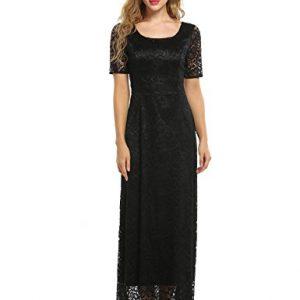 ANGVNS Women's Vintage Lace Floral Short Sleeve Slim Wedding Bridesmaid Long Maxi Dress,Black,Medium
