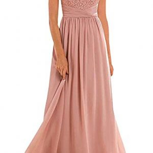 Annadress Women's Halter Lace A-line Chiffon Floor-Length Bridesmaid Dress Blush 10