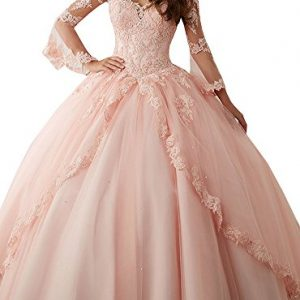 Annadress Women's Long Sleeve Lace Quinceanera Dresses Train V-Neck Ball Gown Pink US8
