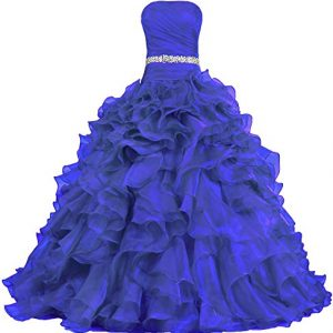 ANTS Women's Pretty Ball Gown Quinceanera Dress Ruffle Prom Dresses Size 4 US Royal Blue