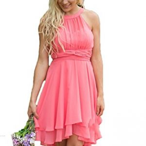 Aokaixin Plus Size Short Country Bridesmaid Dresses Western Wedding Guest Wears Coral US10