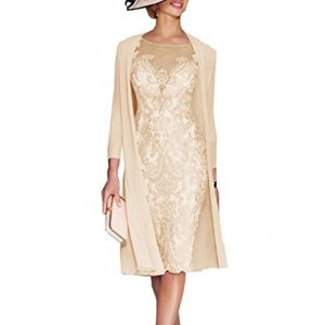 APXPF Women's Mother Of The Groom Dresses Tea Length With Jacket Champagne US22