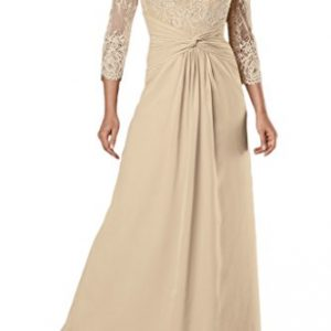 Avril Dress Glamorous Double V Neck 3/4 Sleevess Mother of Bride Dress Floor Length-20W-Champagne
