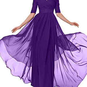 Avril Dress Glamorous Evening Dress Mother of Bride Half Sleeves Empire Bateau-16-Purple