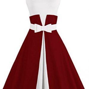 Babyonlinedress Double Color Swing Rockabilly Graduation dress,Burgundy,2XL