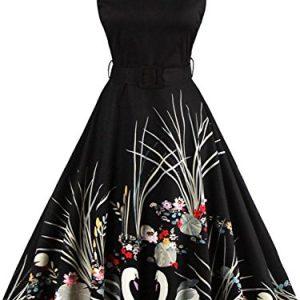 Babyonlinedress Women 1950s Vintage Dresses Retro Style Cocktail Gown,Black,M