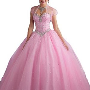 Beilite Women's Sweetheart Prom Long Dresses Quinceanera Gown with Crystal Sequins Pink 12
