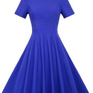 Belle Poque Short Sleeve1940s Vintage Dress Pleated Bodice Blue S BP210-3