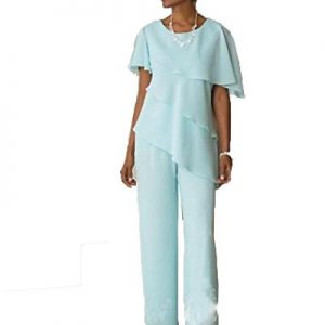 Blevla Two Pieces Chiffon Mother of the Bride Pant Suits Blue US 14