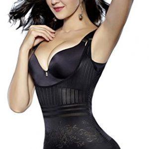 Body Shaper,Sunzel Women's Body Briefer Smooth Wear - Your Own Bra Slimmer Shapewear Bodysuits (Large, Modern Black)