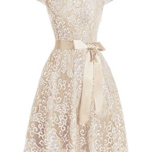 Bridesmay Women's Short Bridesmaid Dresses Embroidered Floral Lace Dress With Cap Sleeve Champagne L