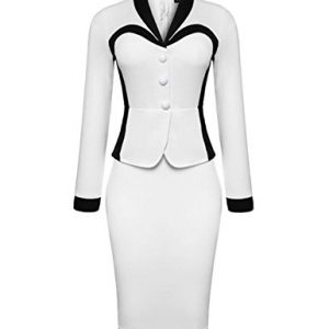 BubbleKiss Color Block Elegant Shawl Lapel Bodycon Dress (XL)