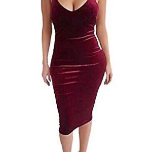 Carprinass Women's Sleeveless Bodycon Midi Dress Velvet Club Bandage Dress,Red,Small