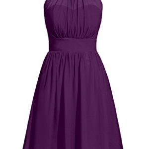 Cdress Halter Chiffon Bridesmaid Dresses Short Prom Party Gowns Cocktail Dress Grape US 4