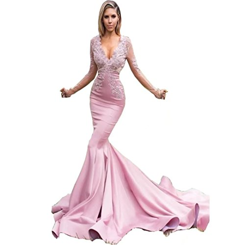 Chady Sexy Long Sleeves Mermaid Prom Dresses Deep V Neck Appliques Lace Satin Pink 2017 Evening Dresses Formal Gowns