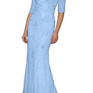 Charm Bridal Half Sleeve Long Lace Beading Mother of the Bride Prom Dress V Neck -26W-Light Blue