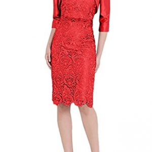 Charm Bridal New Fitting Lace Strapless Mother of the Bride Dress with Jacket -20W-Red