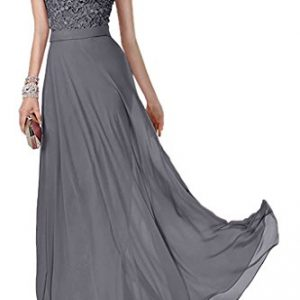Charm Bridal Short Sleeve Chiffon Lace Women Party Ball Dress Long Prom Gowns -18W-Grey