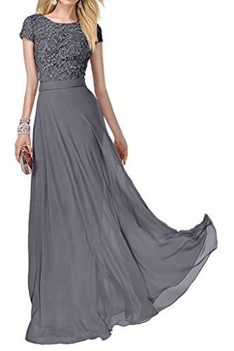 Charm Bridal Short Sleeve Chiffon Lace Women Party Ball Dress Long Prom Gowns -18W-Grey