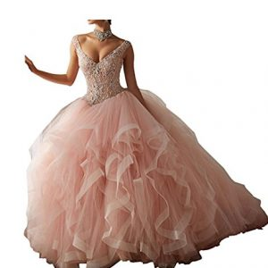 Diandiai V-Neck Ball Gown Quinceanera Dresses Tulle Beads Long Prom dress Dusty Pink 6