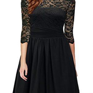 DILANNI Womens Vintage 1950s Lace 3/4 Sleeve Black Lace Flare A-Line Dress