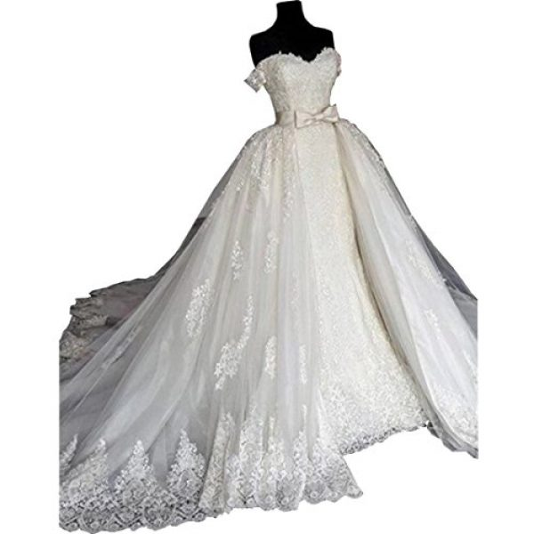 DingDingMail 2018 Luxury Off-Shoulder Lace Mermaid Wedding Dresses ...
