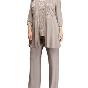 Dislax Chiffon Mother of the Bride Pant Suits 3 Pieces with Jacket Grey US 26plus